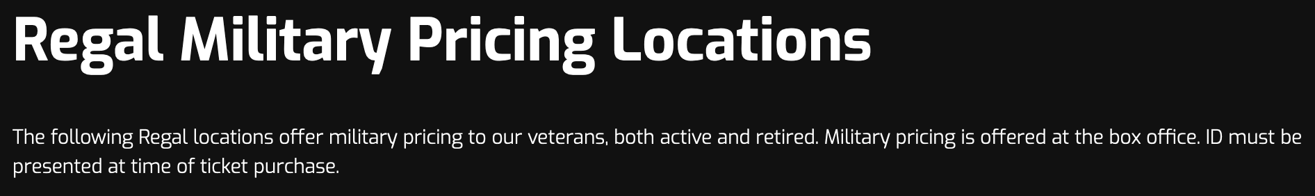 Regal Entertainment Group Military Veteran Discounts