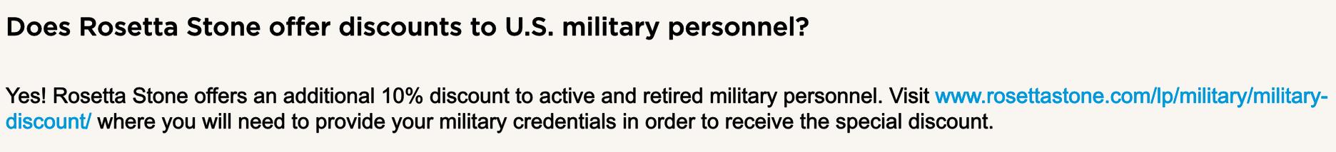 Rosetta Stone Military Veteran Discounts