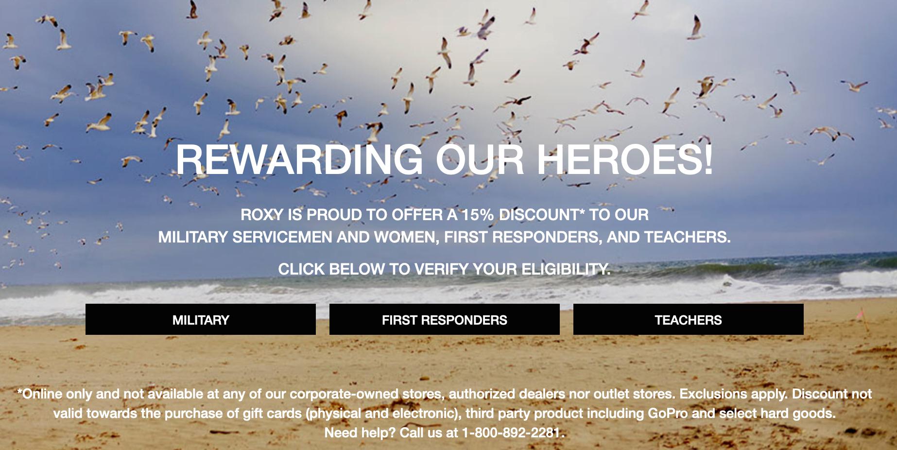Roxy Military Veteran Discounts