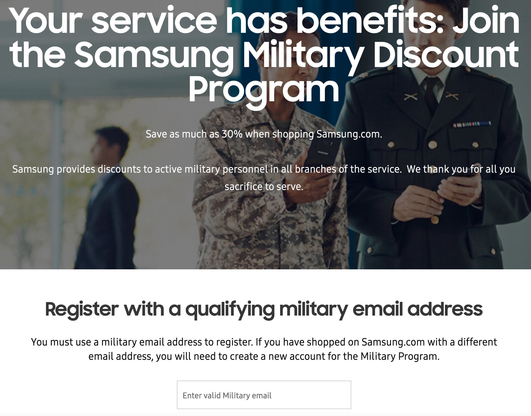 Samsung Military Veteran Discounts