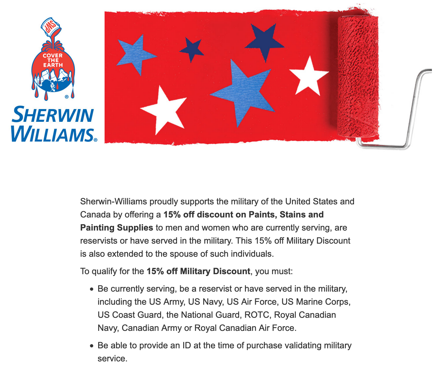 Sherwin-Williams Military Veteran Discounts