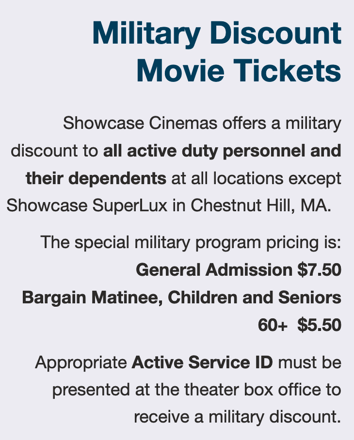 Showcase Cinemas Military Veteran Discounts
