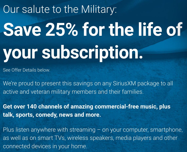 SiriusXM Military Veteran Discounts