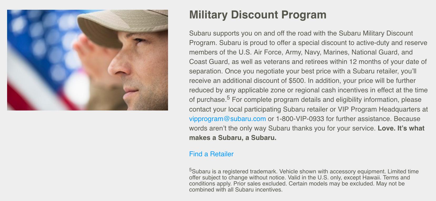 Subaru Military Veteran Discounts