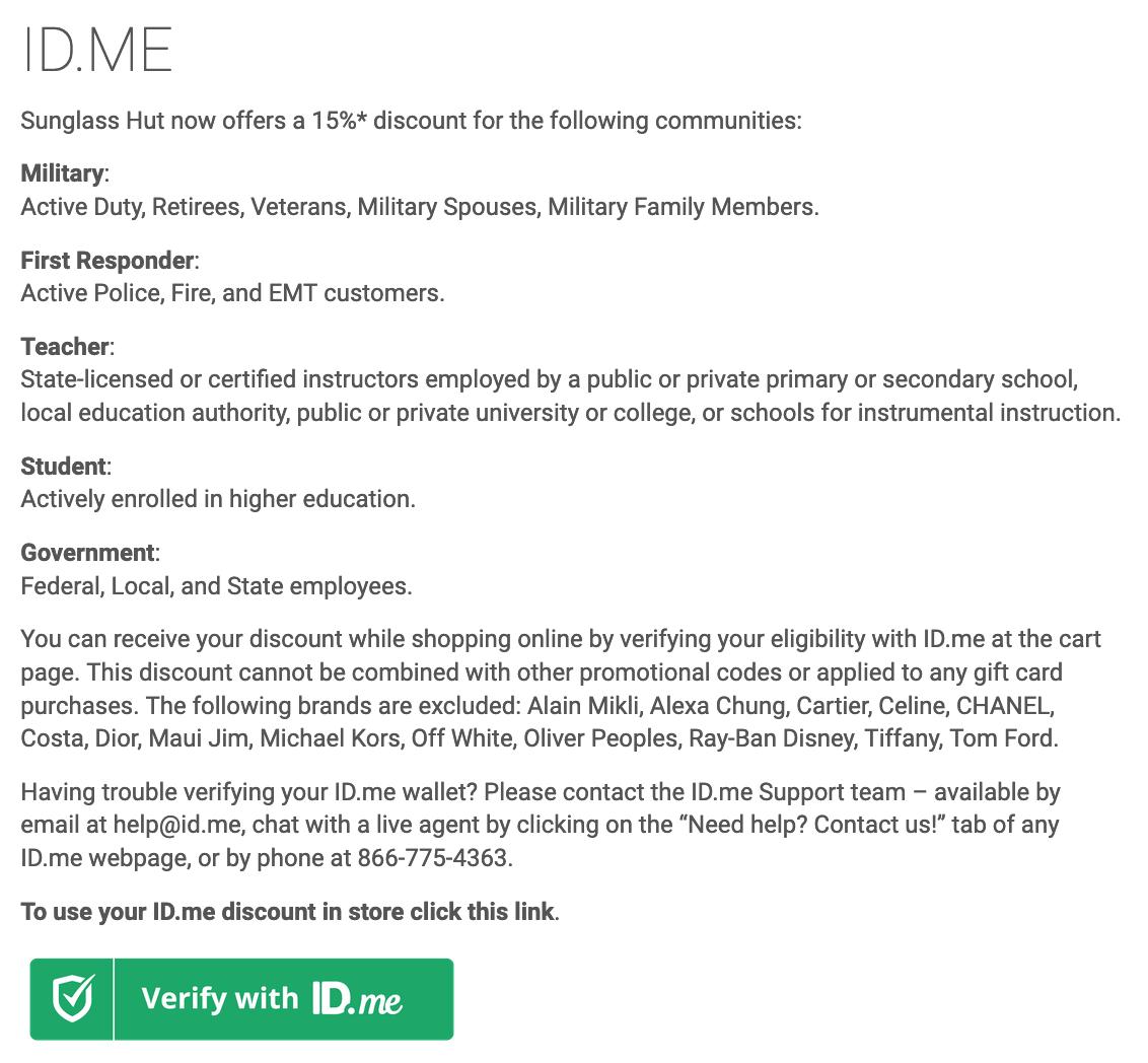Sunglass Hut Military Veteran Discounts