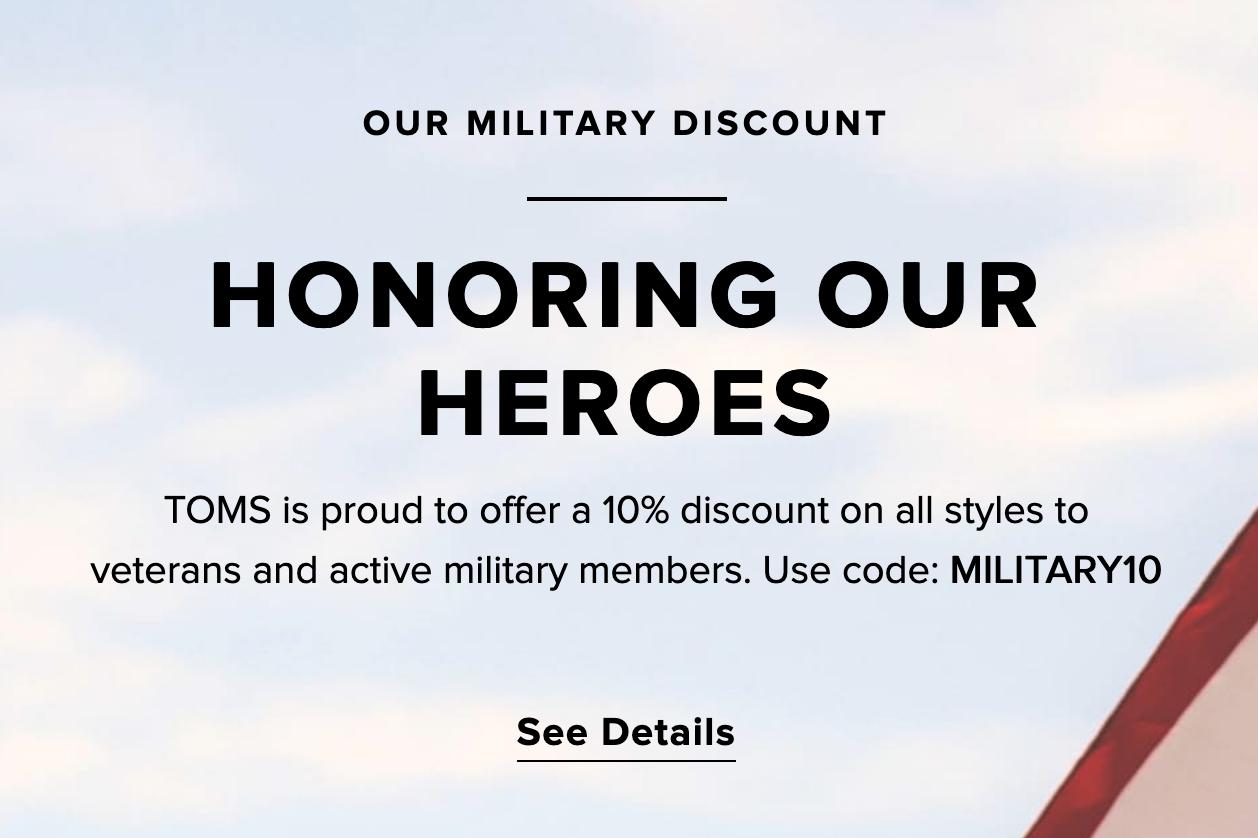 TOMS Military Veteran Discounts