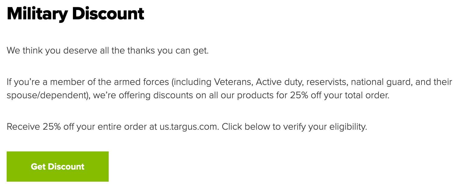 Targus Military Veteran Discounts