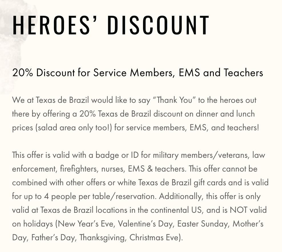 Texas de Brazil Military Veteran Discounts