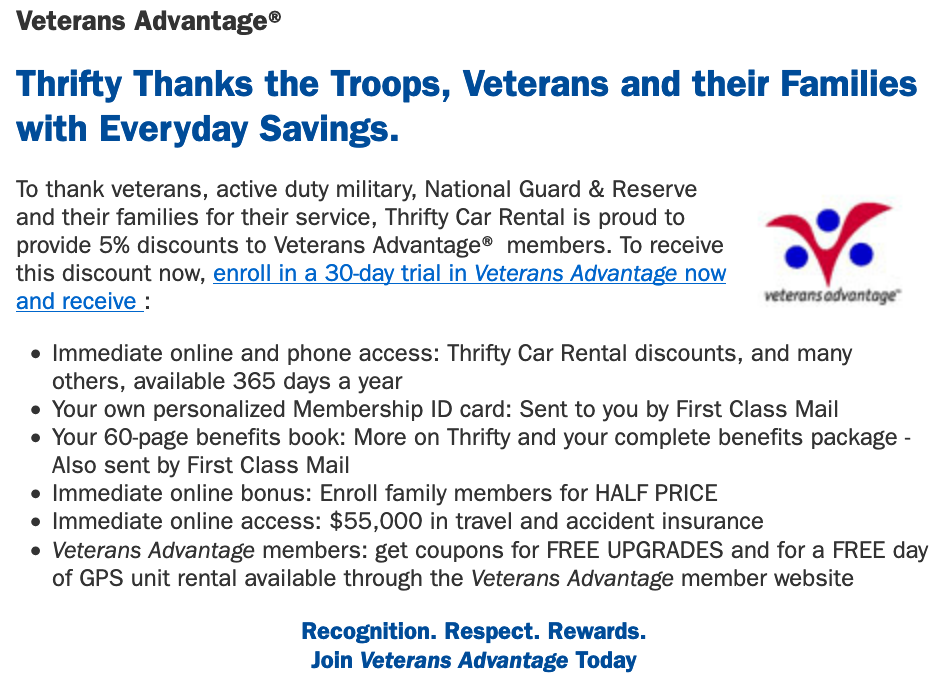 Thrifty Rent-A-Car Military Veteran Discounts