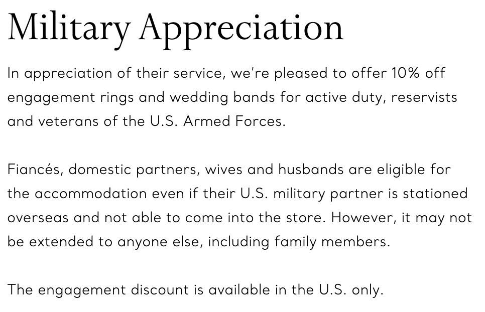 Tiffany & Co. Military Veteran Discounts