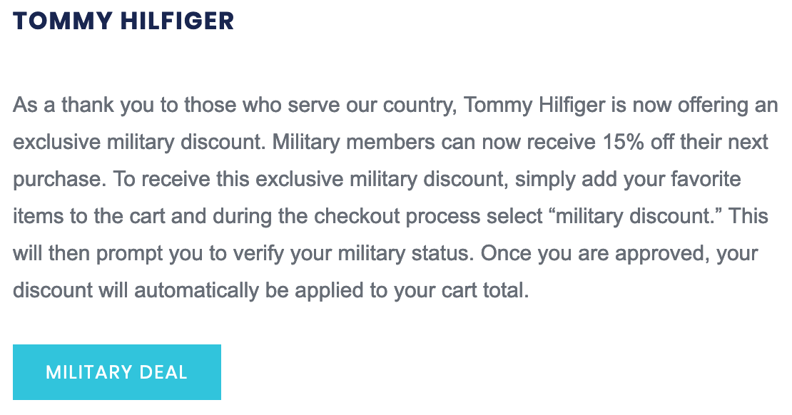 Tommy Hilfiger Military Veteran Discounts