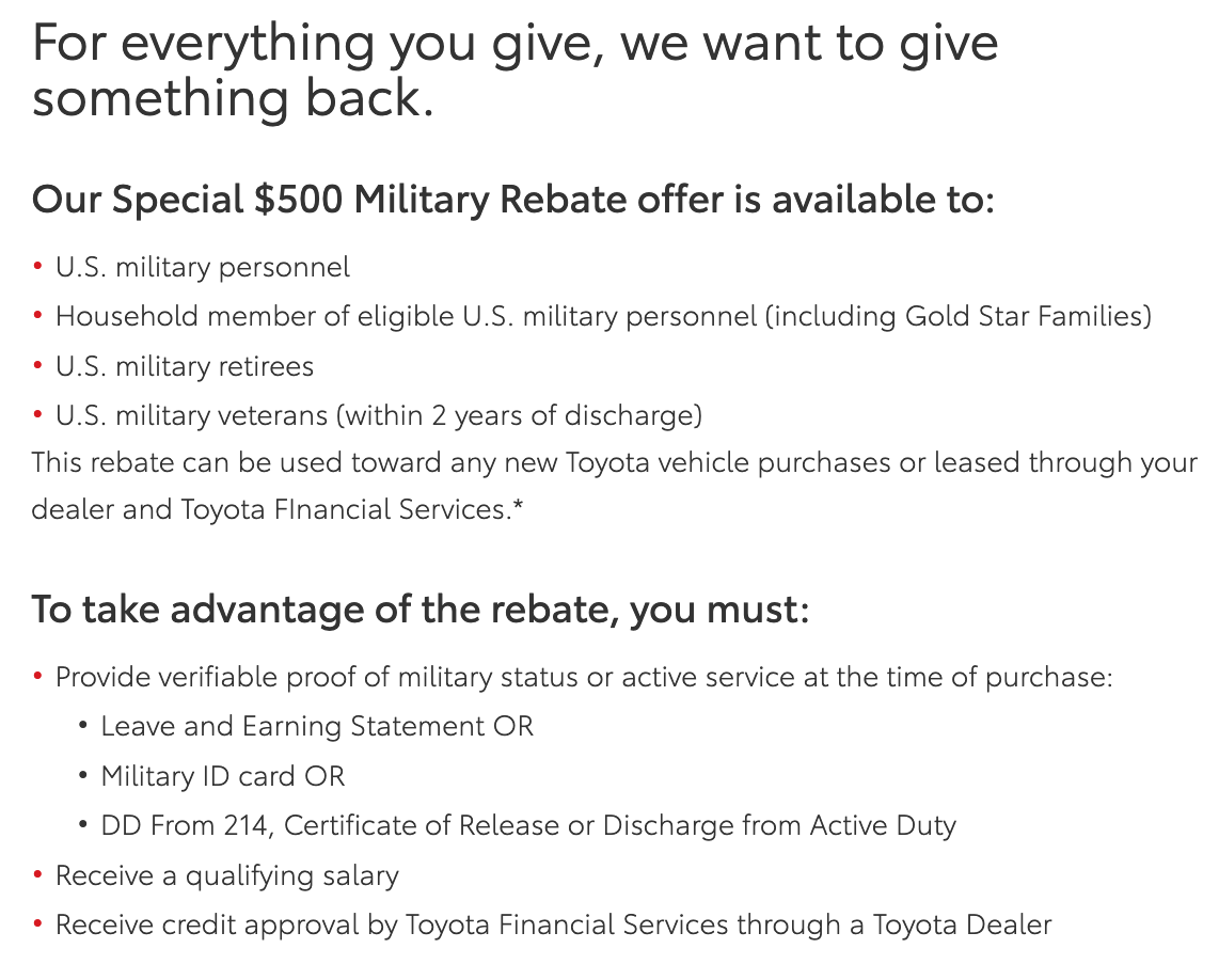 Toyota Military Veteran Discounts