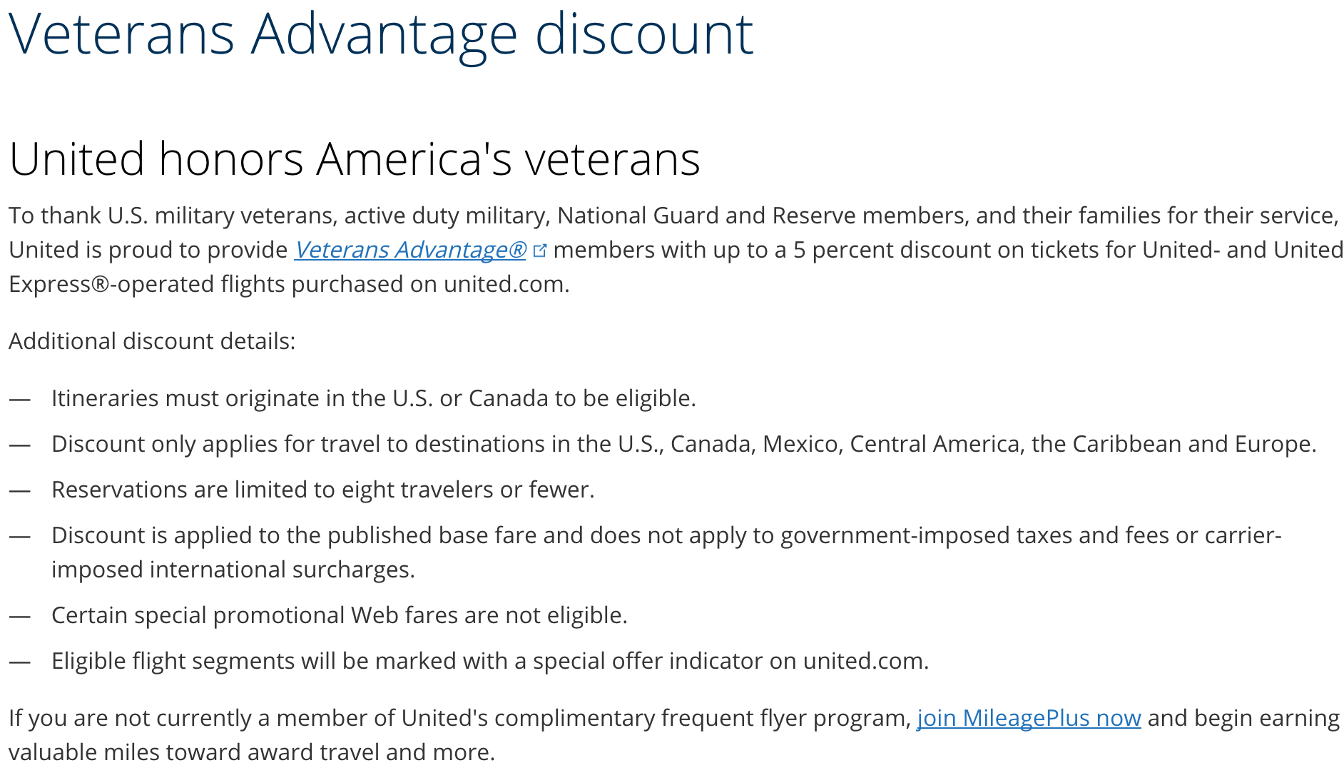 United Airlines Military Veteran Discounts