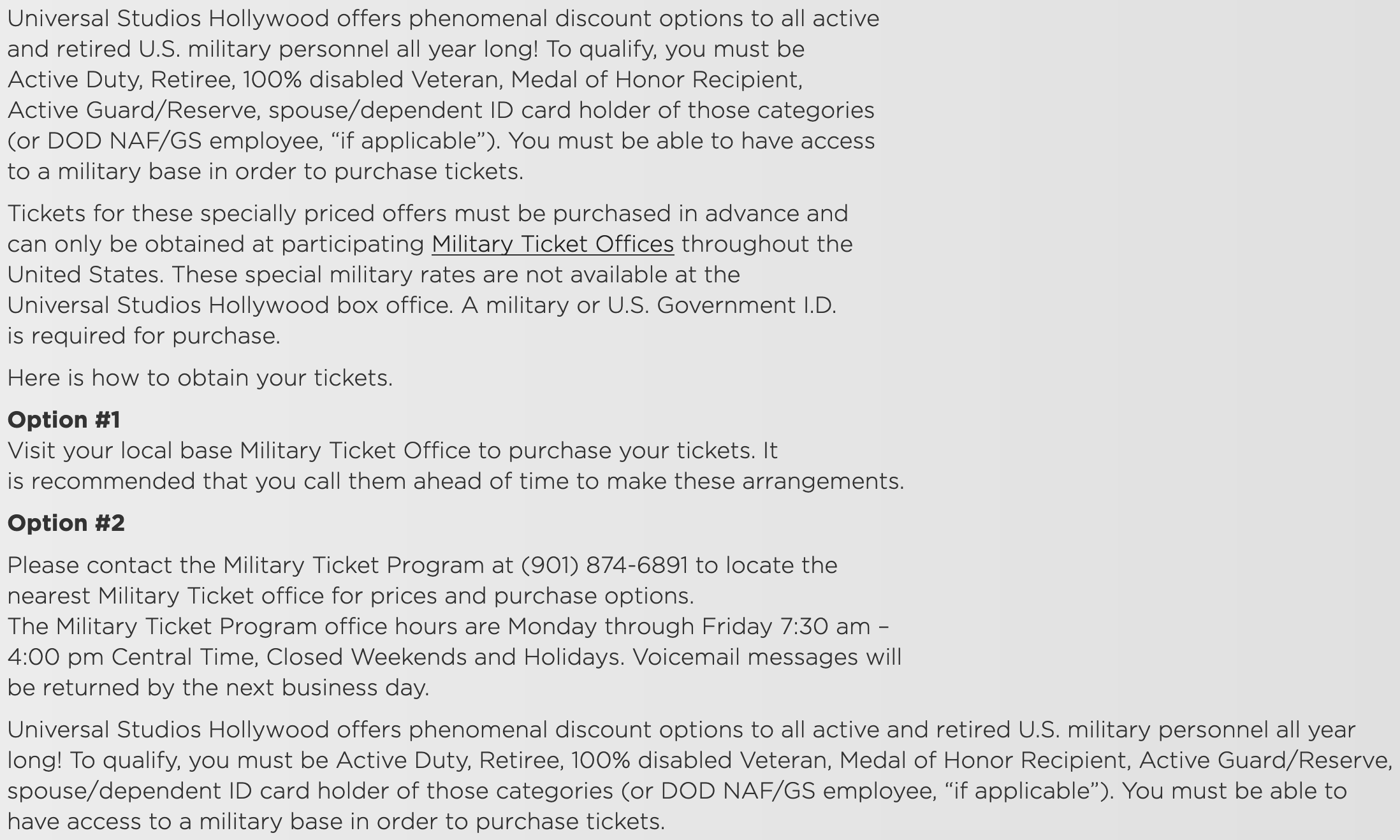 Universal Studios Military Veteran Discounts