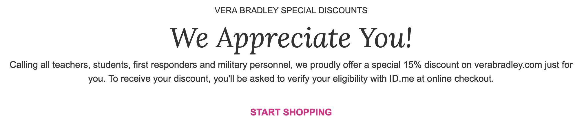 Vera Bradley Military Veteran Discounts