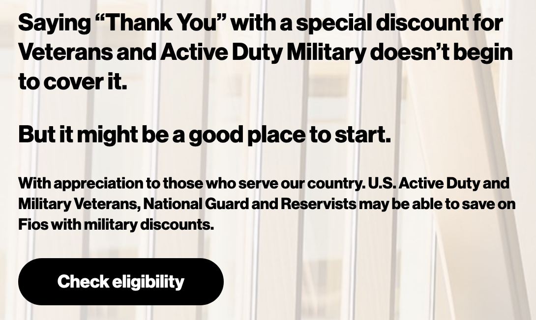 Verizon Fios Military Veteran Discounts