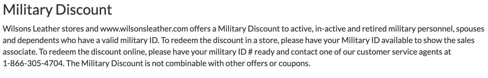 Wilson's Leather Military Veteran Discounts