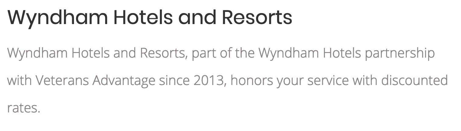 Wyndham Hotels Military Veteran Discounts
