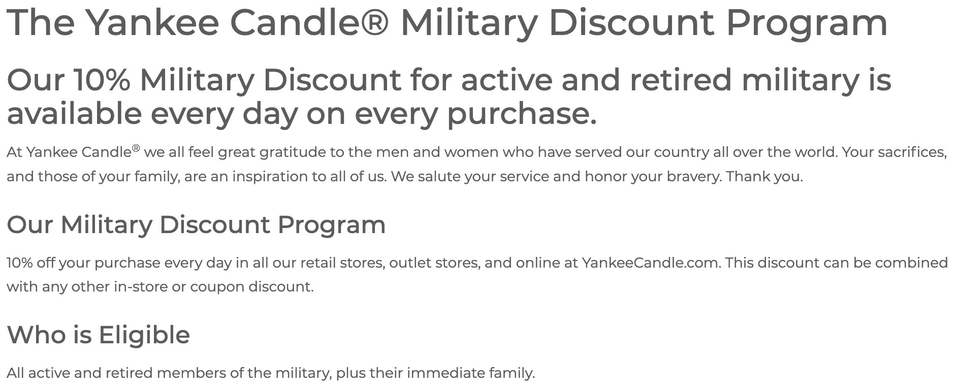 Yankee Candle Military Veteran Discounts